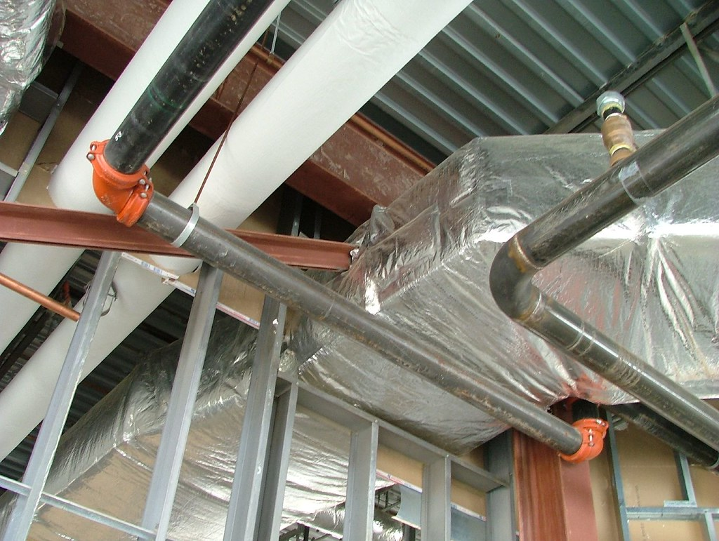 ductwork installed in a residential or commercial building