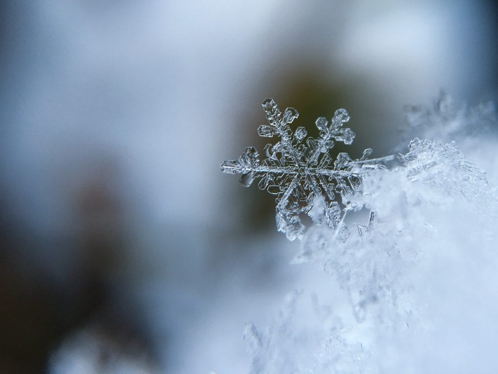 Snowflake in cold winter weather