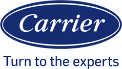 Logo of Carrier Air Conditioning company, with the Carrier name spelled out in white lettering over a blue background
